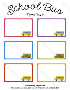 Printable School Bus Name Tags School Bus Safety, School Bus Driver, Magic School Bus, School Buses, Preschool Names, Preschool Classroom, Kindergarten, Printable Name Tags, Free Printable