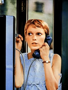 Mia Farrow in Rosemary's Baby (1968) the all time best film at combining devil worship, possession and wonderful 70's kitsch sets and fashion, it is still chilling today even after all the blood fests and shock tactics used by hollywood today nothing beats poor mias plight under the crazy geriatric devil worshippers next door, halloween must watch film horror