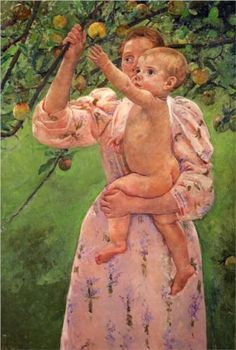 Baby Reaching For An Apple,1893, oil on canvas, impressionist. Mary Cassatt (1844-1926).
