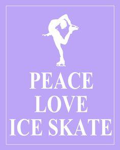 Peace Love Ice Skate  High Resolution JPG Lilac by PeaceLoveEtsy, $8.95