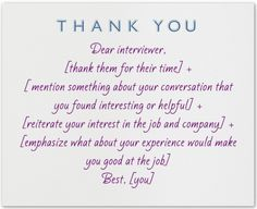 thank you notes for job interview
