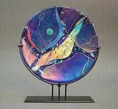Small Cobalt Blue Platter on stand: Karen Ehart: Art Glass Sculpture - Artful Home Slumped Glass, Fused Glass Art, Stained Glass Art, Stained Glass Windows, Modern Sculpture, Sculpture Art, Mosaic Art, Mosaic Glass, Glass Art Design