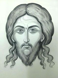 Icon of Christ not made by human hands (The Holy Mandylion). Jesus Christ Drawing, Jesus Drawings, Jesus Art, Pencil Drawings, Religious Icons, Religious Art, Cross Drawing, Art Terms, Byzantine Icons