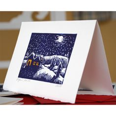 Set of 6 Hand Pulled Block Print Christmas Cards.