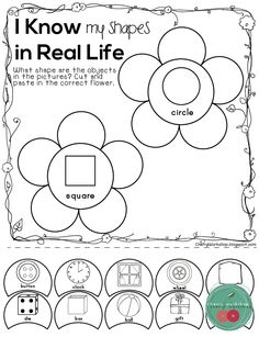 Kindergarten Spring Activities No Prep, Shapes in real life, cut and paste