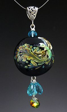 Hummingbird Dreams  custom handmade lampwork by LandSArts on Etsy, $140.00