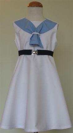 Sailor Dress & Jacket by SerendipityGDDs for Age 5 Jacket Dress, I Dress, Girls Designer Dresses, White Rope, Sailor Collar, Sailor Dress, Nautical Fashion, Serendipity, White Style