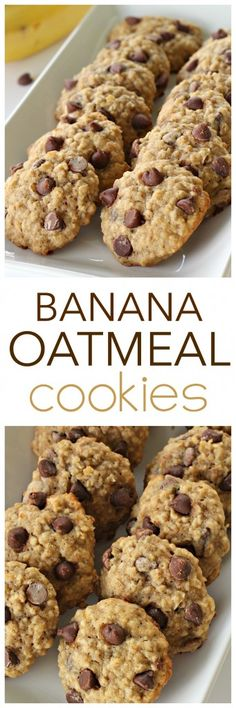 Banana Oatmeal Cookies from SixSistersStuff Healthy or not this cookie recipe is delicious! So soft and full of flavor - you could even swap nuts or raisins for the chocolate chips to make them a little more healthy! Healthy Dessert Recipes, Healthy Baking, Healthy Desserts, Just Desserts, Yummy Recipes, Yummy Food, Banana Dessert Recipes, Diabetic Desserts, Healthy Fit