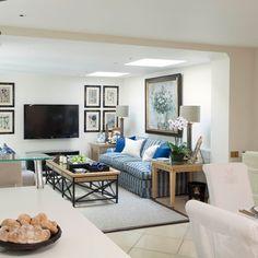 White coastal-style living room with artwork | Living room decorating | housetohome.co.uk