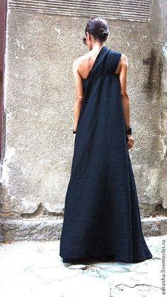 Maxi Dress/Black Kaftan Linen Dress/One Shoulder Dress/Extravagant Long Dress/Party Dress/Daywear Dress – Linen Dresses Dress First, The Dress, Black Kaftan, Dress Black, Green Dress, Maxi Robes, Black Linen, Linen Dresses, Maxi Dresses