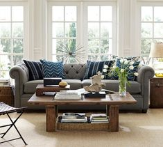 Chesterfield Metal Gray Upholstered Sofa | Pottery Barn