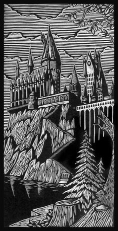 Hogwarts Woodblock Print by WoodcutEmporium on Etsy
