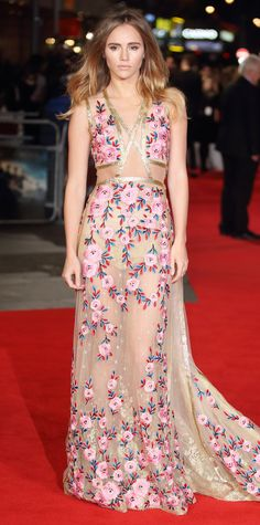 Suki Waterhouse embraced the sheer trend at the Pride and Prejudice and Zombies premiere in a sexy-sweet floral-embroidered Reem Acra illusion gown with cut-outs and a gold trim.
