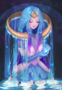 Elementalist Lux (Water), Mary Montés on ArtStation at https://www.artstation.com/artwork/G90GV
