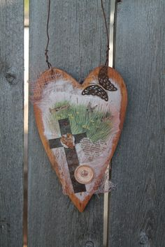 wooden hanging heart with cross butterfly and by jackrabbitflats, $12.00