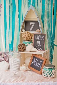 Fun decor at a mermaid birthday party! See more party ideas at CatchMyParty.com!