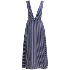 Deep Plunge Neck Vertical Striped Blue Dress (21 AUD) ❤ liked on Polyvore featuring dresses, blue, sleeveless shift dress, stripe dresses, plunging v neck dress, chiffon shift dress and blue chiffon dress