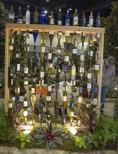 Collection in Glass Garden Decor 12 Diy Glass Bottles Garden Decor Wine Craft, Wine Bottle Crafts, Bottle Art, Bottles And Jars, Glass Bottles, Empty Wine Bottles, Beer Bottles, Wine Glass, Glass Garden