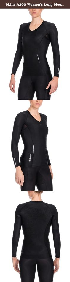 Skins A200 Women's Long Sleeve Compression Top, Extra Small, Black/Black. Getting the body you want just got easier with SKINS scientifically proven sports compression clothing – simply slip into a SKINS A200 Women's Long Sleeve Compression Top. Available in a range of sizes and seasonal catwalk-inspired colors, it will flatter your body and hold in any wobbly bits.Our unique scientifically proven engineered gradient compression improves circulation, getting more fresh oxygen to your…