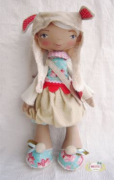 Soft fabric doll in red and blue with rabbit by SpecialEditionMM, $150.00