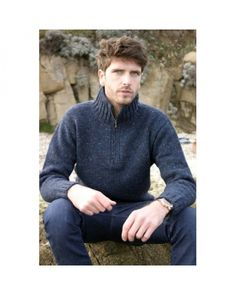This half zip collar man's sweater is Irish made from 100% woollen yarn spun in Co. Donegal.