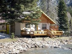 Cozy Cuteness in this South Fork Swiss Mountain Chalet rental - View from Rio Grande River. Cabin Rentals, South Fork, Ideal Home, Colorado, Vacation, House Styles, Wolf Creek, Mountain, Places