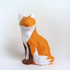 paper sculpture kit- fox by Low Poly Crafts