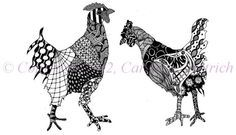 Chicken Art Print, entitled Two Chickens is a 4 H x 6 W print of the original.    Chickens are sort of silly, nervous and gawky and they are