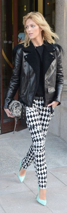 Balmain printed black & white graphic jeans with leather jacket