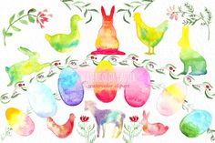 Watercolor easter clipart by LABFcreations on @creativemarket