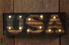 """USA"" LED Sign With 6 Hour Timer"