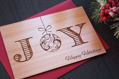 Joy Christmas Card - Unique Xmas Cards - Wood Cards