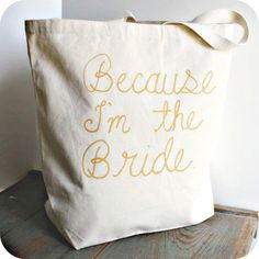 Funny Bridal Tote Bag Gold White Hand Painted by KnotworkShop, $23.00