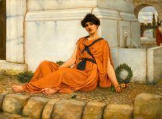 Repose, the Flower Girl John William Godward - Pre Raphaelite Art