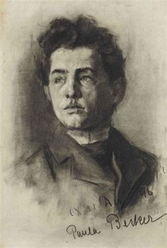 Paula Modersohn-Becker - Figurative Painting - German Expressionism - Portrait of a young man - Creation Date: 1896 - Medium: charcoal on paper.