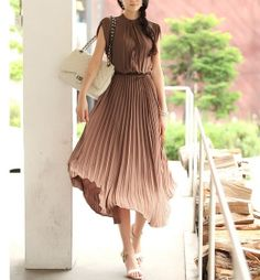 Coffee chiffon Pleated dress