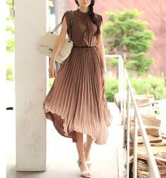 Coffee chiffon Pleated dress