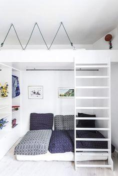 Doable Living Room Decor and Interior Design Tips Tiny Living Rooms, Living Room Designs, Living Room Decor, Mezzanine Bed, Bedroom Loft, Living Room Remodel, Boy Room, Home Decor, Annex