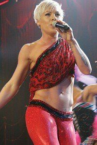 pink singer workout abs