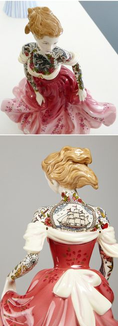 Scottish artist Jessica Harrison adds edgy tattoos to sweet porcelain figures. Love this #art via @JealousCurator