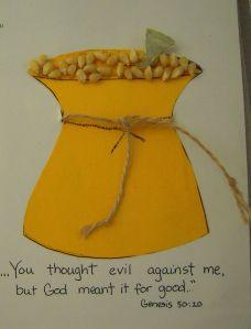 ☆ God has GOOD plans for me.  Joseph lesson.  Glue on popcorn kernels for grains of sand.