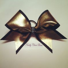 Black and Metallic Gold softball bow