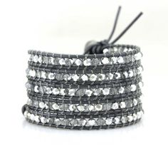 Clear and Silver Crystals on Metallic Grey Leather Wrap Bracelet by Katie Joelle