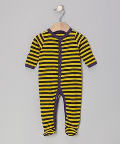 Take a look at this Navy & Yellow Stripe Organic Footie - Infant by Max + Ella on #zulily today!