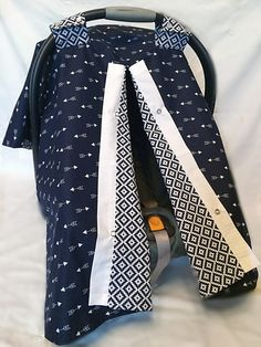 Car Seat Cover, Car Seat Canopy, Navy Carseat Cover, Arrow Car Seat Canopy, Gender Neutral Baby, Baby Gift, Infant Carrier Cover