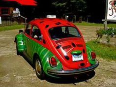 vw 1971 vw super beetle painted like a watermelon