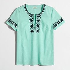 Factory embroidered short-sleeve peasant top