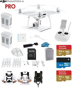 DJI Phantom 4 PRO Quadcopter Drone with 1-inch 20MP 4K Camera KIT   2 Total DJI Batteries   2 SanDisk 64GB Micro SDXC Cards   Card Reader 3.0   Snap on Prop Guards   Carry Strap System >>> Learn more by visiting the image link.