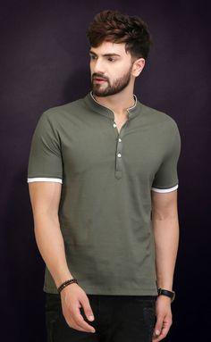 Henley Neck Loive t-shirt for men . Polo Shirt Outfits, Mens Polo T Shirts, T Shirts For Men, Polo Shirt Style, Men Shirt, Neck T Shirt, Casual T Shirts, Cool T Shirts, Men Casual