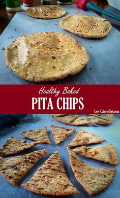 Healthy baked pita chips recipe thats ready in 15 minutes, low in calories and high in fiber. Check out this delicious recipe and many more like it! Healthy Pita Recipes, Healthy Pita Bread, Low Carb Pita Bread, Low Calorie Vegetarian Recipes, Healthy Low Calorie Snacks, Healthy Homemade Snacks, Quick Healthy Lunch, Healthy Baking, Diabetic Recipes